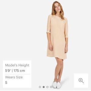 Everlane Silk Long-Sleeve Dress in Blush